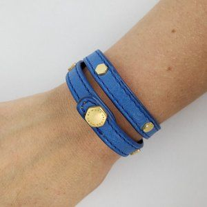Marc Jacobs Blue Leather Snap Wrap Bracelet